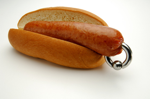 Hot dog in bun with jewelery